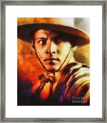 Rudolph Valentino, Vintage Hollywood Legend Framed Print by Mary Bassett