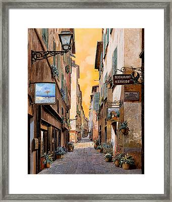 Rue Droite Nice  Framed Print by Guido Borelli