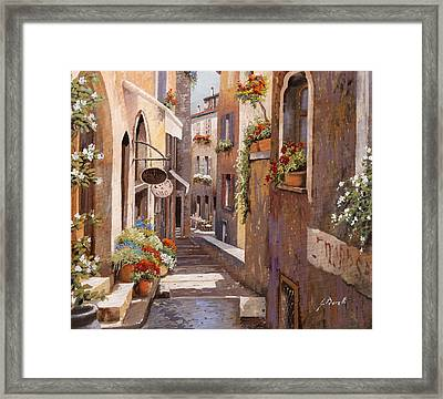 Rue Du Bresc In St Paul De Vence Framed Print by Guido Borelli