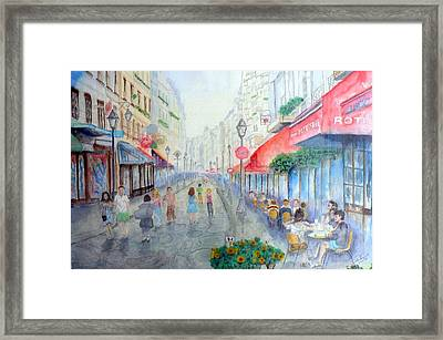 Rue Montorgueil Paris Right Bank Framed Print by Dan Bozich
