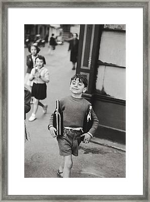 Rue Mouffetard By H. Cartier Bresson Framed Print by Hans Wolfgang Muller Leg