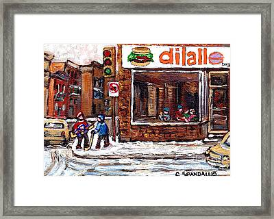 Rue Notre Dame Montreal Winter Street Scene Paintings Dilallo Burger Hockey Scenes Canadian Art Framed Print