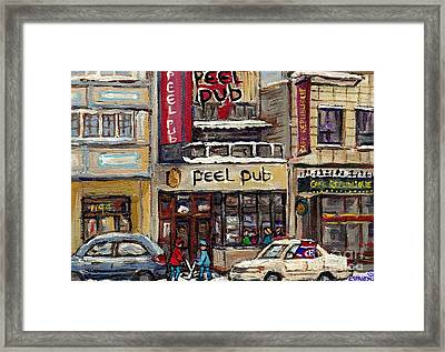 Rue Peel Montreal Winter Street Scene Paintings Peel Pub Cafe Republique Hockey Scenes Canadian Art Framed Print