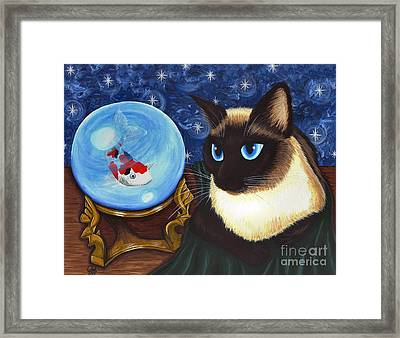 Framed Print featuring the painting Rue Rue's Fortune - Siamese Cat Koi by Carrie Hawks