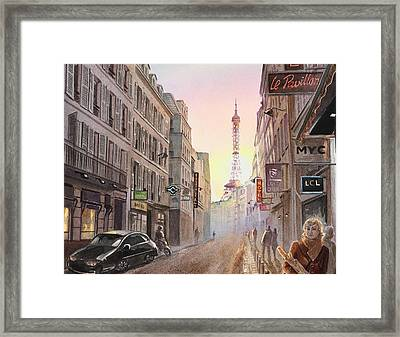 Rue Saint Dominique Paris France View On Eiffel Tower Sunset Framed Print by Irina Sztukowski