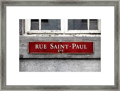 Rue Saint-paul Framed Print by John Rizzuto