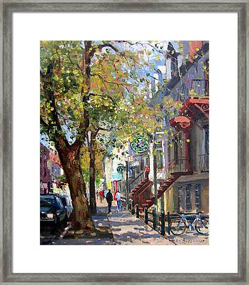 Rue St Denis Montreal Framed Print by Roelof Rossouw