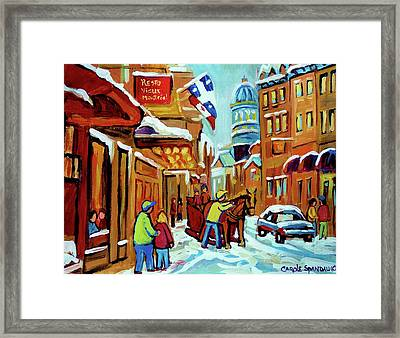 Rue St Paul Montreal Streetscene Cafes And Caleche Framed Print by Carole Spandau