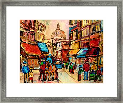 Rue St. Paul Old Montreal Streetscene Framed Print by Carole Spandau