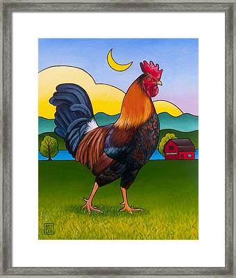 Rufus The Rooster Framed Print by Stacey Neumiller