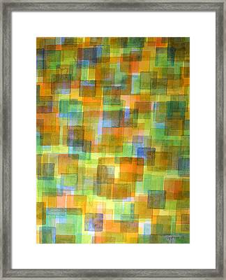 Rug Out Of Orange, Blue And Green Squares Framed Print