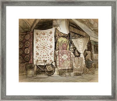 Rug Shop In Athens Framed Print