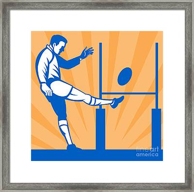 Rugby Goal Kick Framed Print by Aloysius Patrimonio