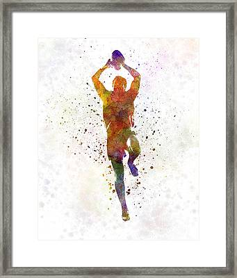 Rugby Man Player 04 In Watercolor Framed Print by Pablo Romero