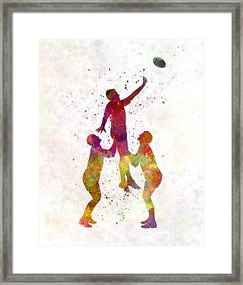 Rugby Men Players 01 In Watercolor Framed Print by Pablo Romero
