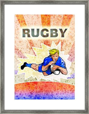 Rugby Player Diving To Score A Try Framed Print by Aloysius Patrimonio