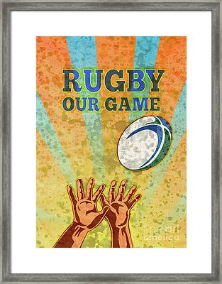 Rugby Player Hands Catching Ball Framed Print by Aloysius Patrimonio