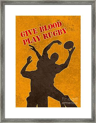 Rugby Player Jumping Catching Ball In Lineout Framed Print by Aloysius Patrimonio