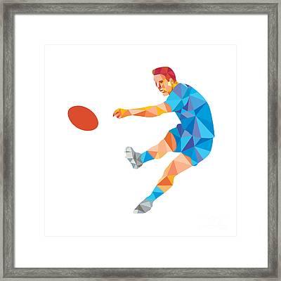 Rugby Player Kicking Ball Low Polygon Framed Print by Aloysius Patrimonio