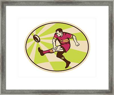 Rugby Player Kicking The Ball Retro Framed Print by Aloysius Patrimonio