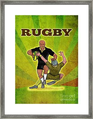 Rugby Player Running Attacking With Ball Framed Print by Aloysius Patrimonio