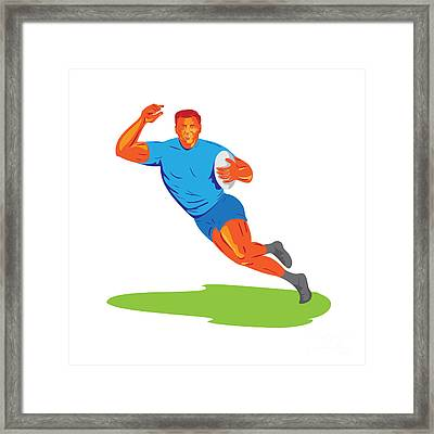 Rugby Player Running Ball Wpa Framed Print