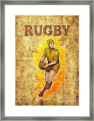 Rugby Player Running Passing Ball Framed Print by Aloysius Patrimonio