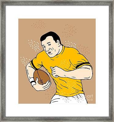 Rugby Player Runningwith The Ball Framed Print by Aloysius Patrimonio
