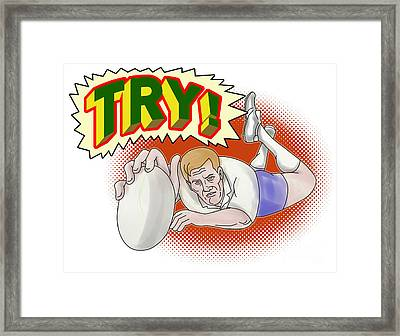 Rugby Player Scoring A Try Framed Print by Aloysius Patrimonio