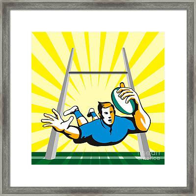 Rugby Player Scoring Try Retro Framed Print by Aloysius Patrimonio