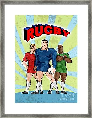 Rugby Player Standing With Ball Framed Print by Aloysius Patrimonio