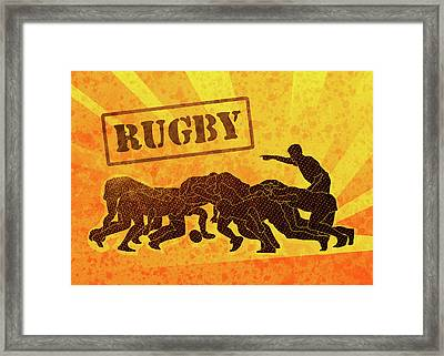Rugby Players Engaged In Scrum  Framed Print by Aloysius Patrimonio