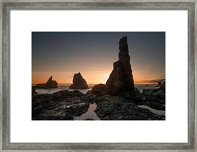 Rugged Coast Evening Framed Print by Leland D Howard