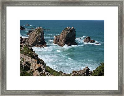 Rugged Coastline - Portugal Framed Print by Connie Sue White