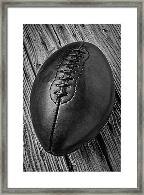 Rugged Leather Football Framed Print by Garry Gay