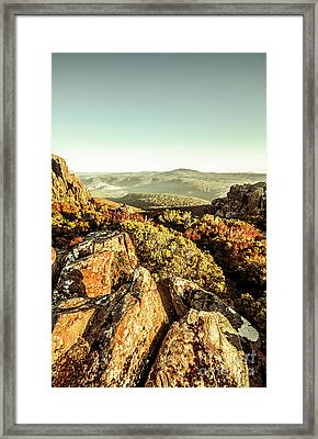 Rugged Mountaintops To Regional Valleys Framed Print