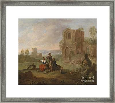 Ruined Landscape With Locking Hikers Framed Print by Celestial Images