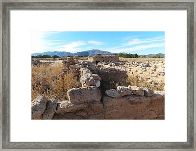 Ruins At The Puye Cliff Dwellings New Mexico Framed Print