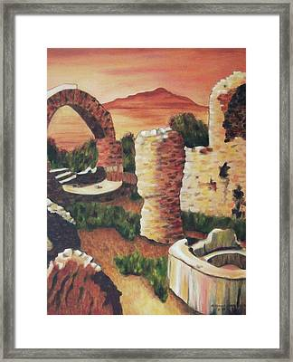 Ruins In Cumae Italy Framed Print by Suzanne  Marie Leclair