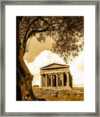 Ruins Of Ancient Agrigento Framed Print by Mark E Tisdale