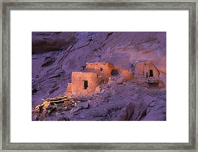 Ruins Of Ancient Pueblo Indian Or Framed Print by Ira Block