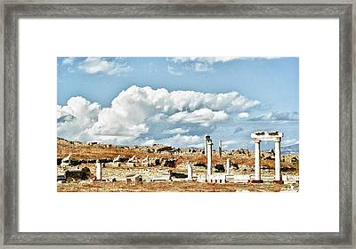 Ruins Of Delos Framed Print by Linda Pulvermacher