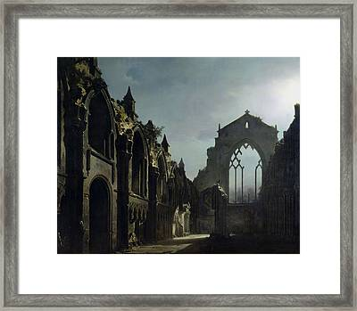 Ruins Of Holyrood Chapel Framed Print by Louis Jacques Mande Daguerre