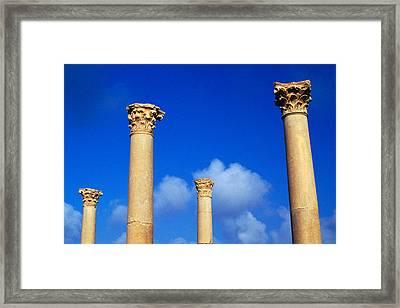 Ruins Roman Columns At Timgad Framed Print
