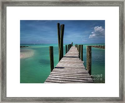 Rum Cay Marina Jetty In Bahamas Framed Print by Jola Martysz