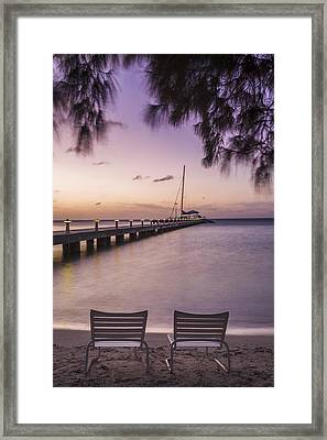 Rum Point Beach Chairs At Dusk Framed Print