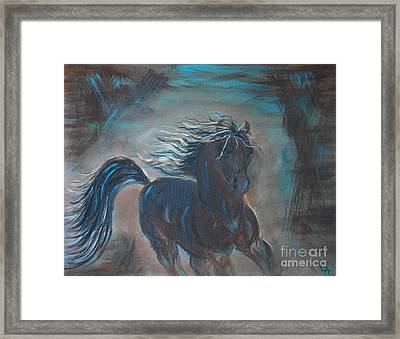 Framed Print featuring the painting Run Horse Run by Leslie Allen