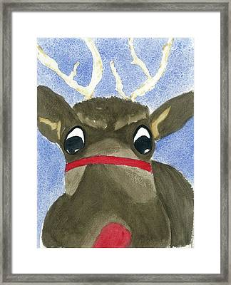 Framed Print featuring the painting Run Run Rudolph by Joan Zepf