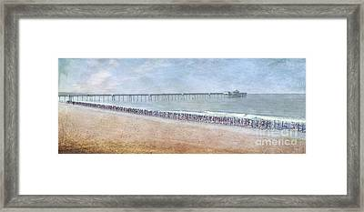 Framed Print featuring the photograph Runners On The Beach Panorama by David Zanzinger