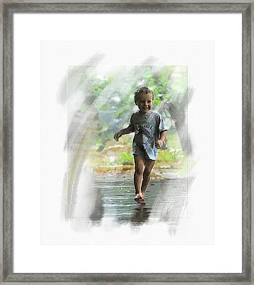 Runnin' In The Rain Framed Print by Cliff Hawley